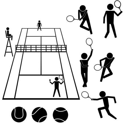 People playing on tennis court with moves info graphic pictogram icon symbol sign