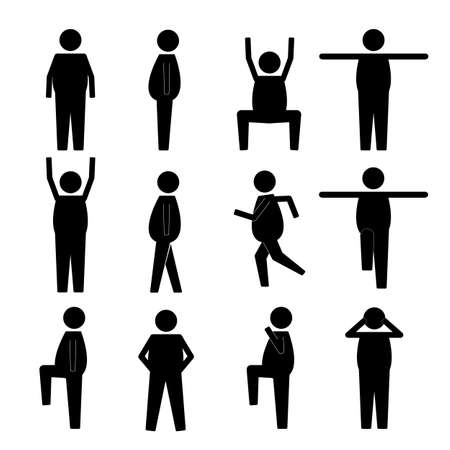 squatting down: Fat Obese Human Action Poses Postures Stick Figure Pictogram Icons Illustration