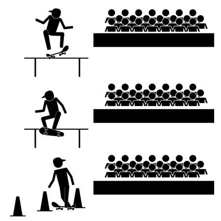 Skate board performance with audiences icon symbol sign info graphic pictogram