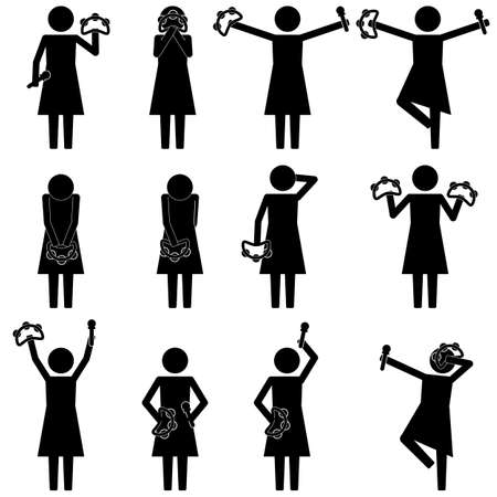 moving in: Girl dancing and moving in karaoke event icon, sign, symbol, info graphic, pictogram