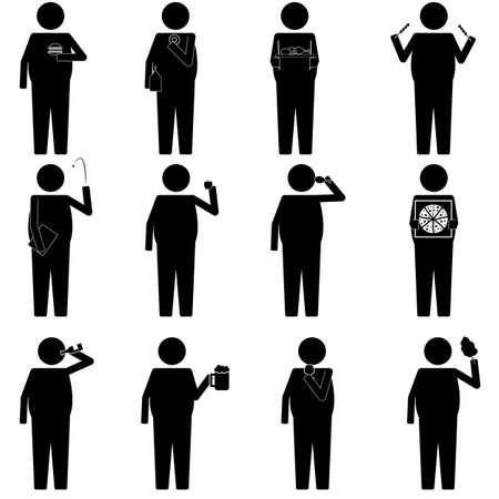 silueta: hombres gordos con los alimentos y la información vaus merienda icono gráfico símbolo pictograma Vectores