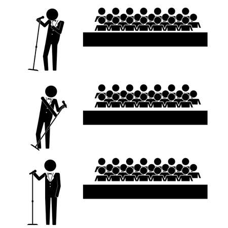 Singer in front of audience sign symbol pictogram