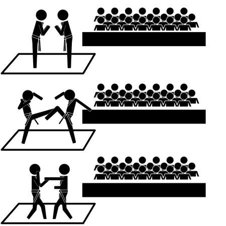 Taekwondo tournament in front of audience sign symbol pictogram