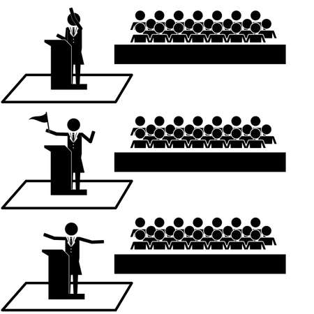 motivator: Woman Politician Public Speaker in front of audience icon symbol pictogram