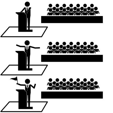 Hombre Político Orador público frente a la audiencia icono de símbolo pictograma Ilustración de vector