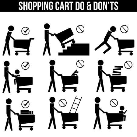 dos: Shopping Cart Trolley Dos and Donts icon sign symbol pictogram