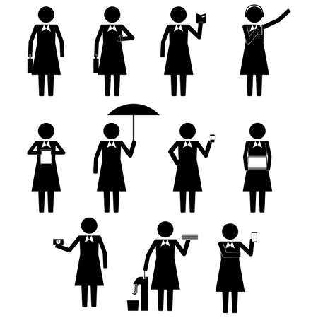 business woman with tablet: Female Business Woman Businesswoman Holding Various Objects Item Stick Figure Pictogram Icons