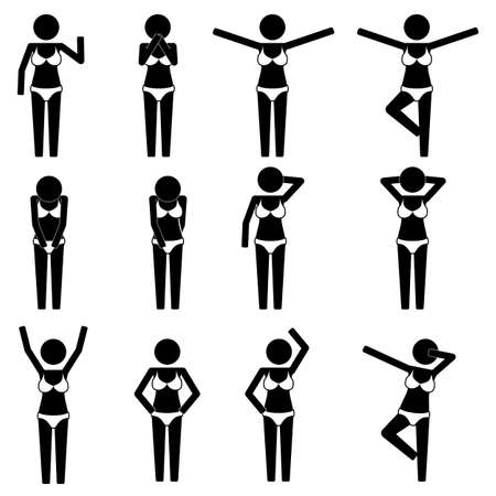 swim wear: Girl female with bikini with various gesture icon symbol sign pictogram