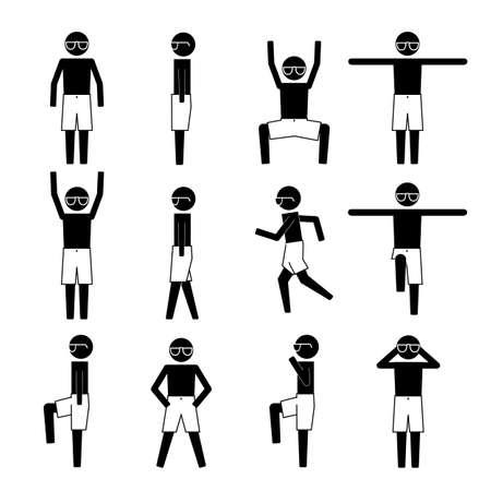les hommes avec l'ombre plage portant courte icône symbole pictogramme information graphique Vecteurs