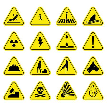 heavy risk: Caution set yellow icon symbol sign pictogram Illustration