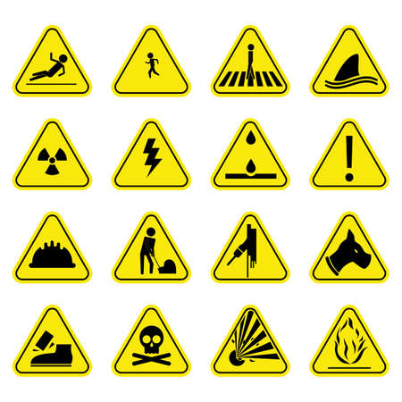 Caution set yellow icon symbol sign pictogram Stock Illustratie