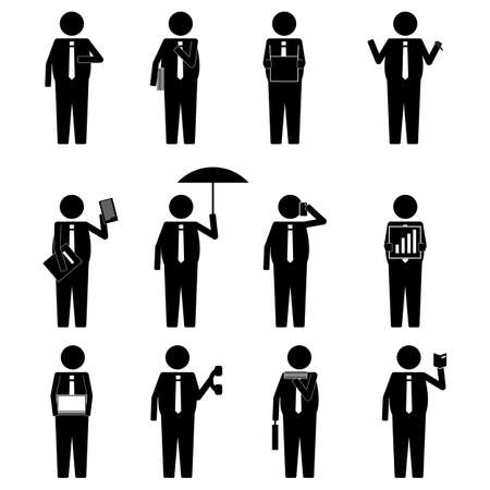 business suit: Fat man business man holding various item icon sign symbol pictogram