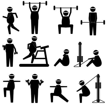 crouch: fat man doing various exercise and loosing weight icon symbol pictogram sign