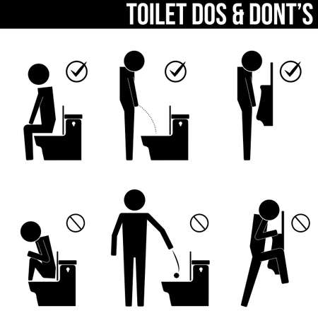 toilet do  don'ts infographic icon symbol sign pictogram 일러스트