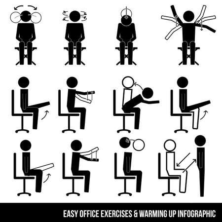 cadeira: escritório fácil exercícios de aquecimento acima do símbolo infográfico ícone do sinal de pictograma Ilustração