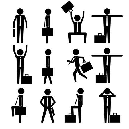 without legs: various basic business man move icon sign symbol