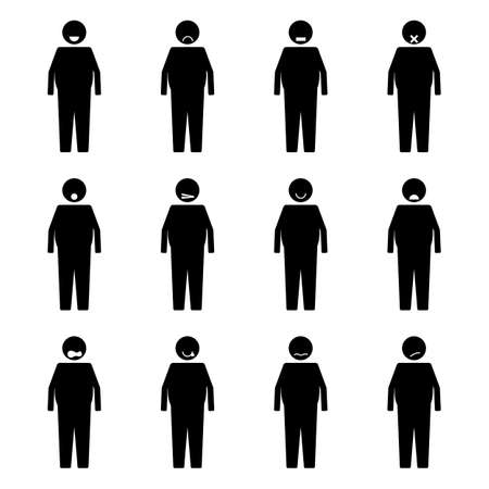 Stick Figure Fat People Emotion or Expression set symbol icon pictogram