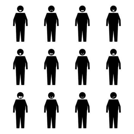 Stick Figure Fat People Emotion or Expression set symbol icon pictogram