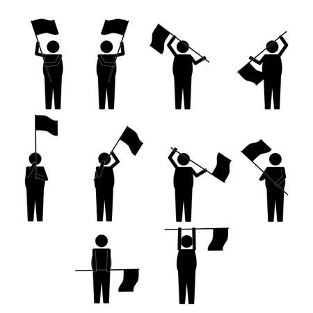 moves: Fat Man with various moves  gesture waving flag info graphic icon sign symbol pictogram