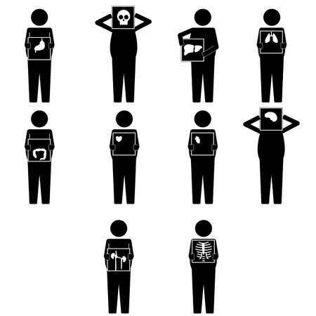 Various fat man holding x ray result for body parts infographic icon sign symbol pictogram Stock Illustratie