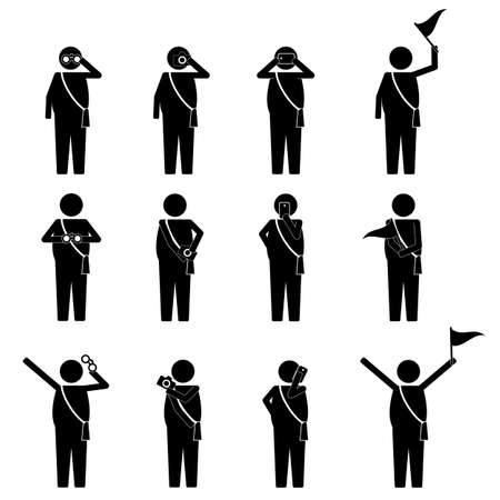 visitor: fat tourist and visitor on group activity infographic icon sign Symbol pictogram Illustration
