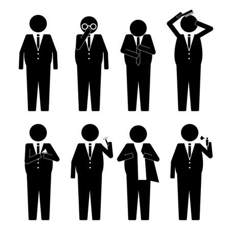 Fat Business man getting ready iwth various object  action infographic icon sign symbol pictogram