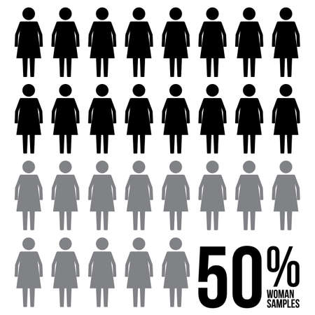 Woman Percentage Survey Results Sign Symbol Pictogram
