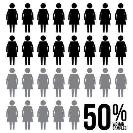 Woman Percentage Survey Results Sign Symbol Pictogram