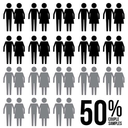 Couple Percentage Survey Results Sign Symbol Pictogram