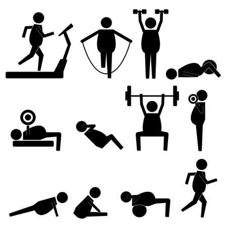 shreded: Fat Man Stick Figure Body Exercise Icon Symbol Sign Pictogram Illustration