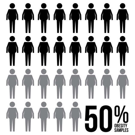 Fat Man Percentage Survey Results Sign Symbol Pictogram