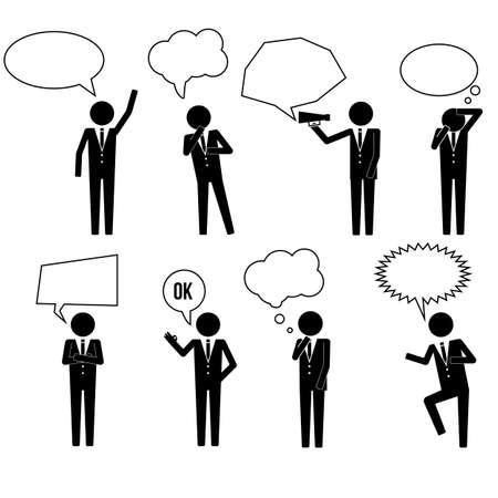 mega phone: Various Businessman Business Man Talking Thinking Shouting Pictogram Icon Illustration