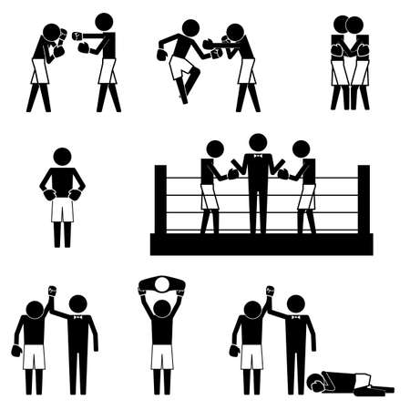 Boxing gesture activity match with ring  referee icon sign pictogram symbol