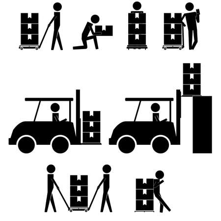 lean machine: man moving box and things with fork lift togeteher icon sign symbol pictogram Illustration