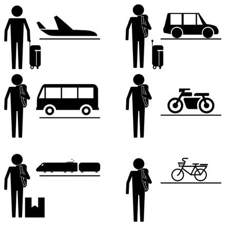 people traveling: people traveling with various transportation with various luggage and baggage icon sign symbol pictogram Illustration