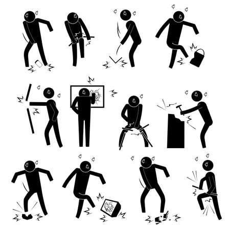 Männer in wütend Zustand Super verärgert werfen Pause Dinge Symbol Zeichen Piktogramm Symbol