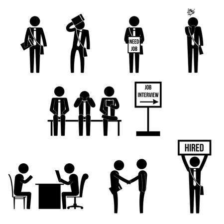 boring: men jobless worker worrying before job interview and get hired icon sign pictogram symbol