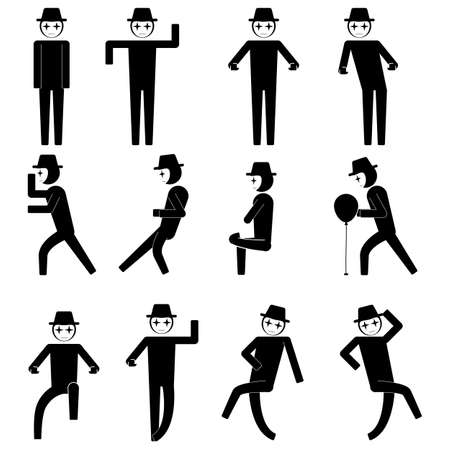 mime doing various gesture and doing performance icon sign symbol pictogram