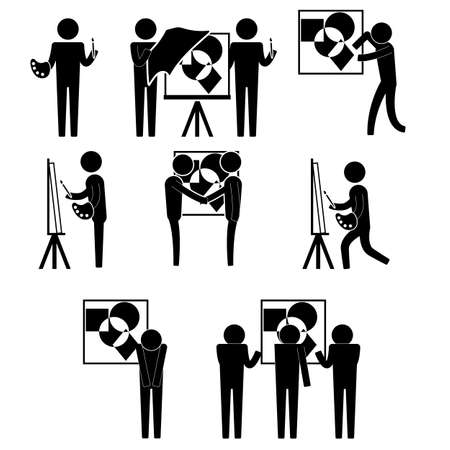 art exhibition: art exhibition for artist and selling painting icon sign symbol pictogram