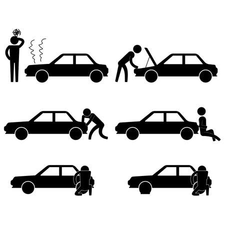 fixing: man fixing various car problem icon sign symbol pictogram
