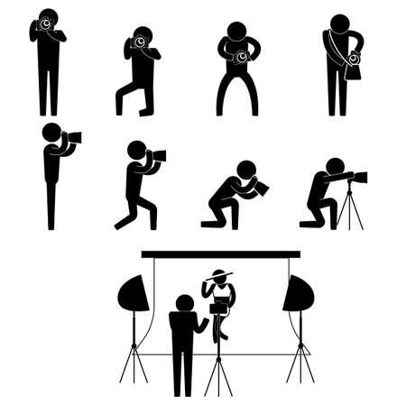 photographer and bikini model during photo shoot session icon sign symbol pictogram