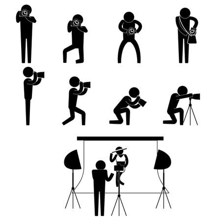photo shoot: photographer and bikini model during photo shoot session icon sign symbol pictogram
