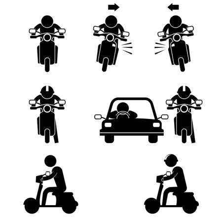 road user with motorcycle and car icon sign symbol pictogram 일러스트