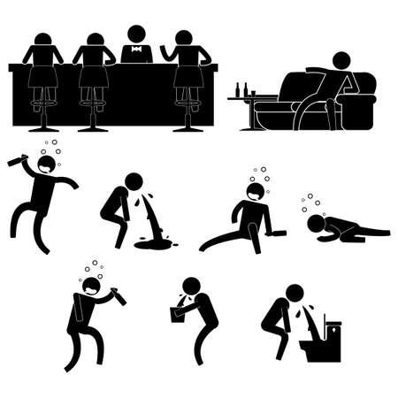 les gens boivent trop dans un bar, puis perdu icône signe symbole pictogramme