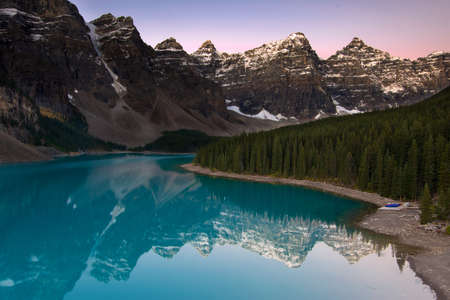 Moraine Lake and the Valley of Ten Peaks at the Morning Stock Photo