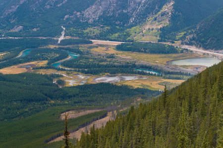 Bow River and Vermillion Lakes seen from Sulphur Mountain Gondola Lookout Point