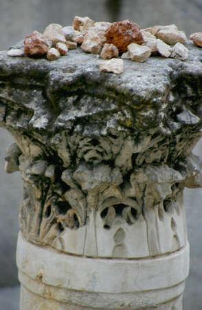 Stones on Ancient Pillar in Cardo