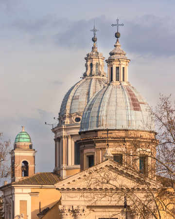 Church domes in Rome, Italy