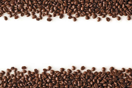 coffee beans stripes isolated in white background, with copyspace. Stock Photo
