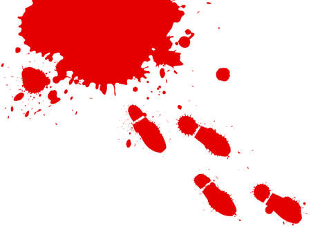 stabs: Illustration of blood splashes and foot prints over white background.